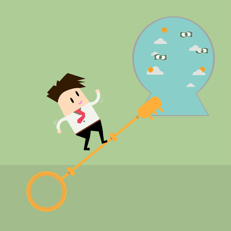 clamber: Businessman going up on a key to success Illustration