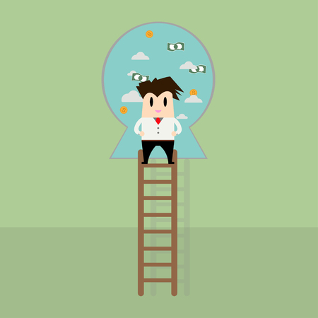 clamber: Businessman on a ladder to the success