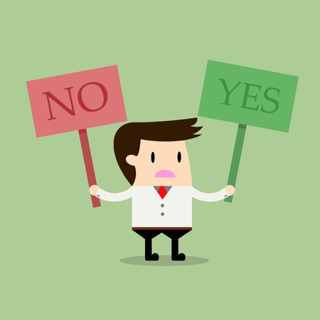 yes or no: businessman thinking with YES and NO symbol, Business concept Illustration