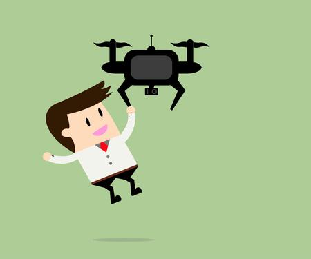 everywhere: Drone take a businessman everywhere