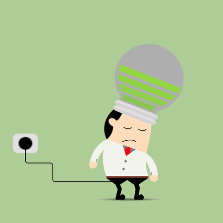 unplug: Businessman feeling tired and charging battery