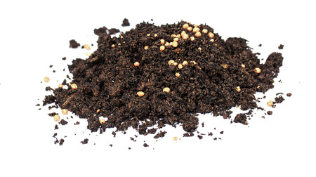 chemical fertilizer: Heap of black soil and Chemical fertilizer on white background