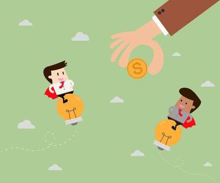 approached: Money. Businessman riding idea approached.Flat design business concept illustration Illustration