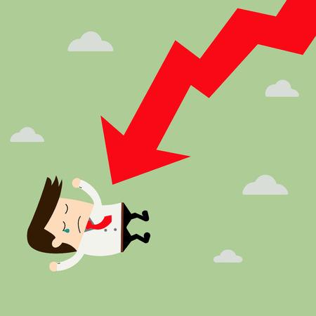 Hombre de negocios en Falling Down Chart. Ilustración de vector