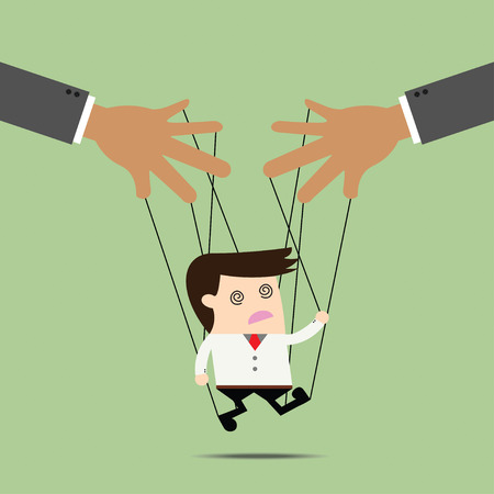 manipulated: Businessman puppet on ropes. Business manipulate behind the scene concept