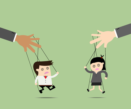 business scene: Businessman and Businesswomen puppet on ropes. Business manipulate behind the scene concept
