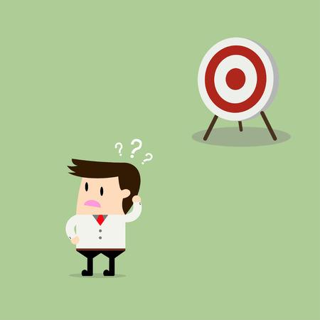 Businessman confused goals. Vector flat design illustration Illustration