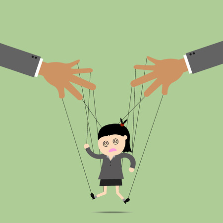 business scene: Businesswomen puppet on ropes. Business manipulate behind the scene concept Illustration