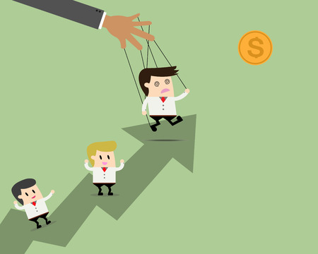 controlled: Businessman leader puppet on ropes to target and teamwork go together. Business manipulate behind the scene concept