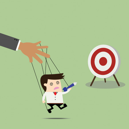 Businessman puppet on ropes and darts to target. Business manipulate behind the scene concept