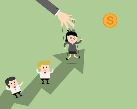 Businesswomen leader puppet on ropes to target and teamwork go together. Business manipulate behind the scene concept