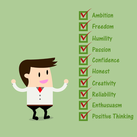humility: Businessman Quality Checklist.Attributes employers want
