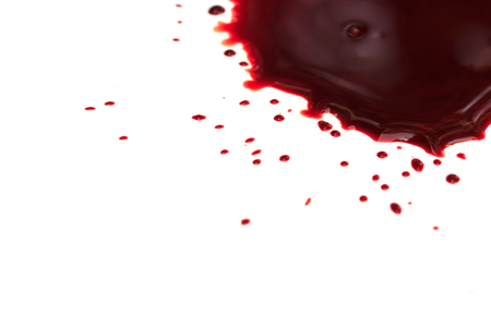 drench: drop of blood on white background Stock Photo
