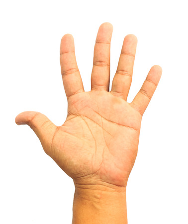 hi back: Man hand showing the five fingers isolated on a white background