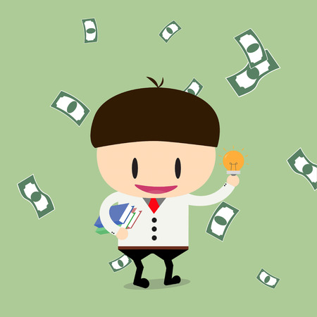 cheques: businessman have book and ideas with cheques on a large sum. Profit, bonus, income. Vector, illustration, flat