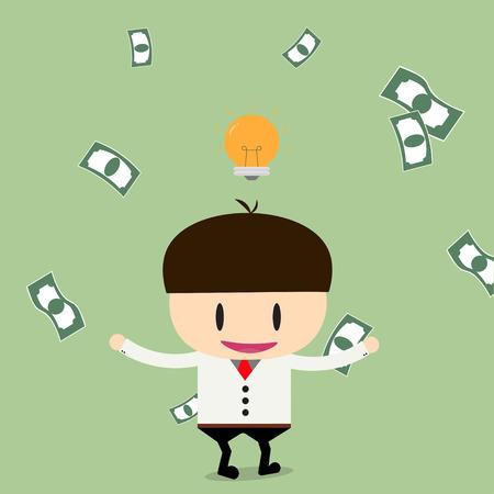 businessman have ideas with cheques on a large sum. Profit, bonus, income. Vector, illustration, flat Illustration