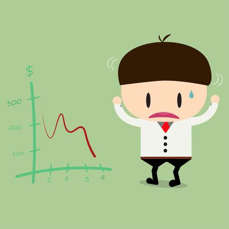 descending: Businessman or manager look negative trend graph fall .flat design