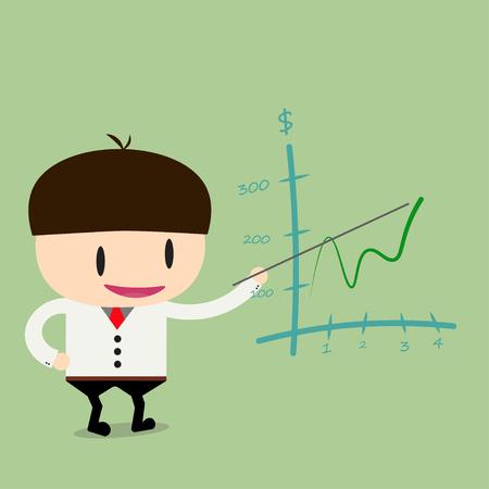 businessman present: Businessman present pointing graph up.Flat design business concept cartoon illustration