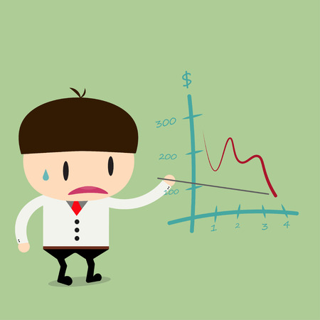 Businessman present pointing negative trend graph fall.Flat design business concept cartoon illustration