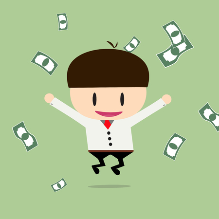 cheques: Happy businessman with cheques on a large sum. Profit, bonus, income. Vector, illustration, flat Illustration