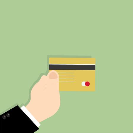 Businessman hand holding credit card Illustration