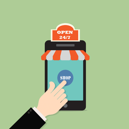 Concept of day and night online shop .Hand Businessman click on smart phone