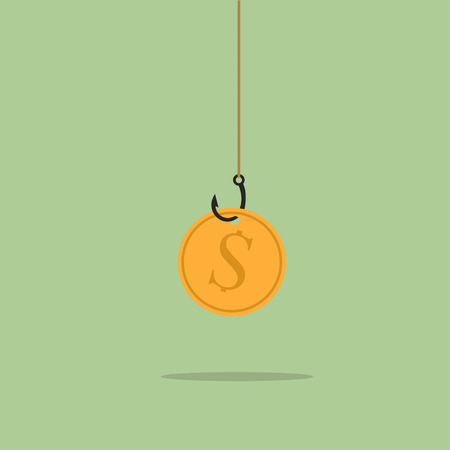 laziness: Golden dollar coin on black sharp fishing hook hanging on fishing line. Fraud, deceit, greed, goal, wealth, gambling, laziness concept Illustration