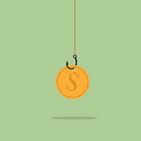 Golden dollar coin on black sharp fishing hook hanging on fishing line. Fraud, deceit, greed, goal, wealth, gambling, laziness concept Illustration