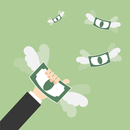 Hand catching a money fly. Business concept Illustration