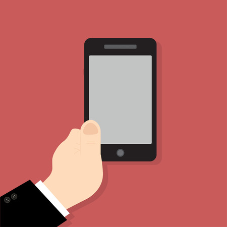 hand holding smart phone: Hand holding smart phone on red background. Flat design