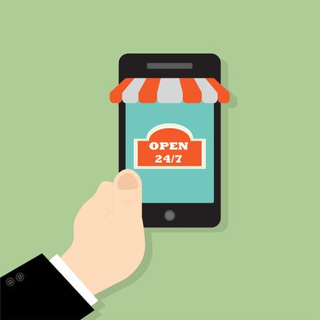 Hand holing smart phone. E-commerce flat design concept. Using mobile smart phone for online purchasing Illustration
