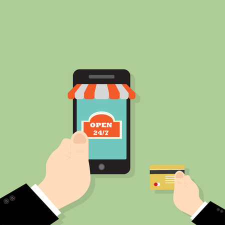 hand use credit card buy shopping online on smartphone,flat design,vector eps10