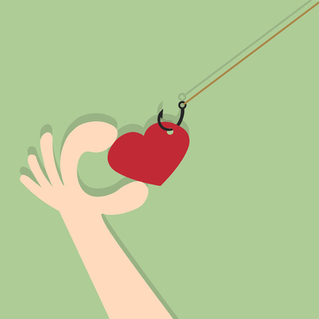 fishhook: On fishing hook hanging heart. People are pulling their hands to the heart drawing on green background