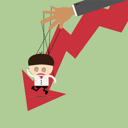 manipulated: Businessman puppet on ropes and graph down. Business manipulate behind the scene concept Illustration