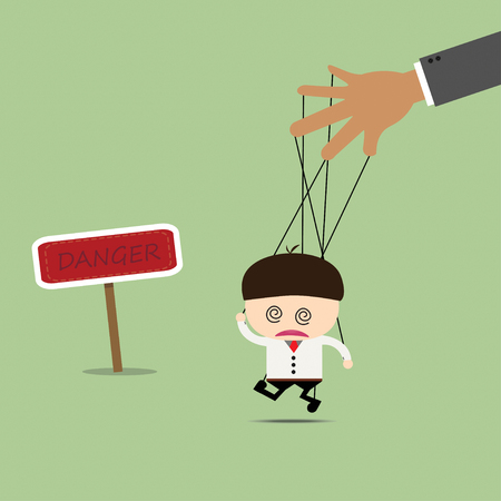 Businessman puppet on ropes in what sounds. Business manipulate behind the scene concept Illustration