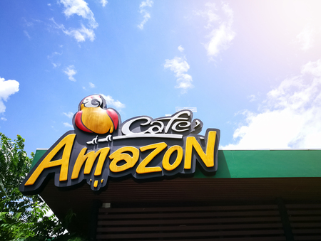 Chachoengsao, THAILAND - June 26: Cafe Amazon logo on June 26, 2017 in Chachoengsao. Its a famous Thai frachise coffee house in Thailand, located in almost PTT gas station.
