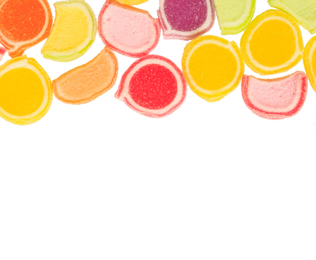 colorful fruit jelly candies on white backgruond