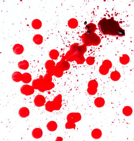 Blood splashed on white background Stock Photo