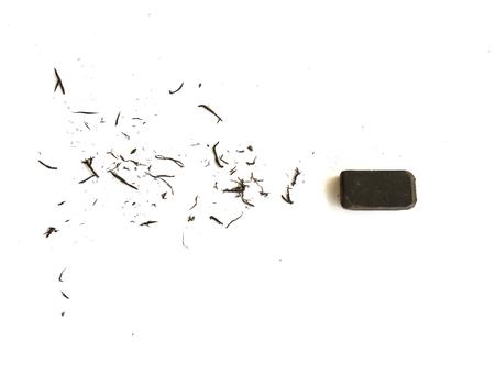 eraser scrap and eraser on white background. Standard-Bild