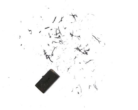 eraser scrap and eraser on white background. 스톡 콘텐츠