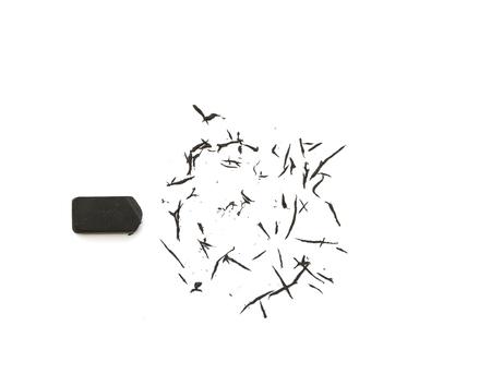 Black eraser on  white background. 스톡 콘텐츠