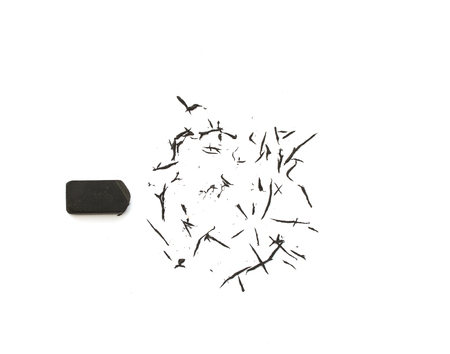 Black eraser on  white background. Standard-Bild