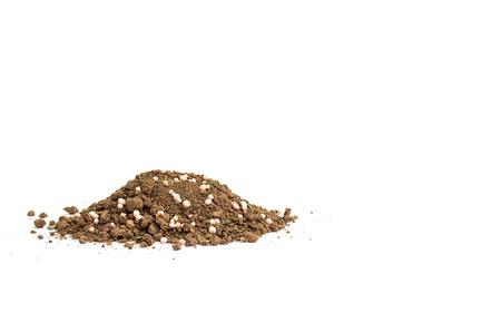 Organic fertilizer and soil on whitebackground Standard-Bild - 121324808