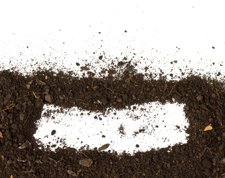 Dirty earth on white background. Natural soil texture Standard-Bild - 121323660