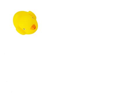 Yellow rubber duck  on white background.Top view.