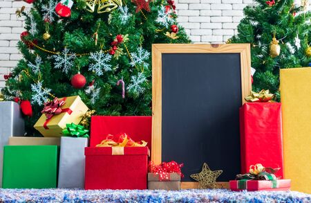 Chalkboard mock up with Christmas gifts and decorations
