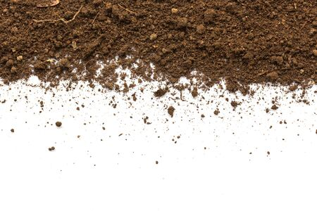 Dirty earth on white background. Natural soil texture Reklamní fotografie