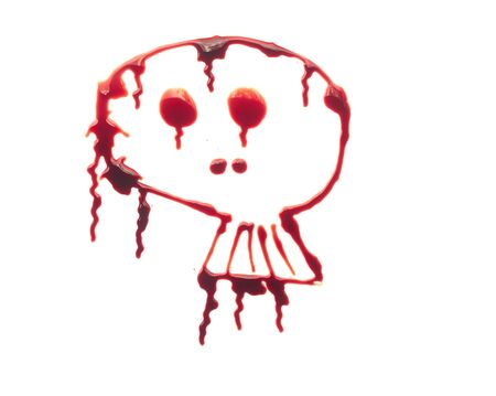 skull is written in red blood on white background.
