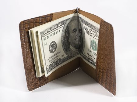 onehundred: One-hundred dollar bills in a leather billfold