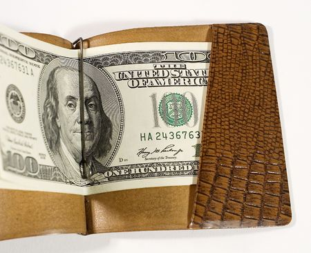 billfold: One-hundred dollar bills in a leather billfold